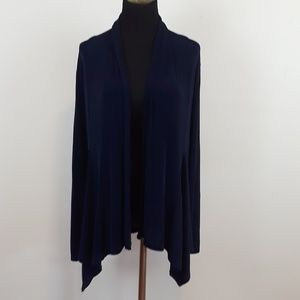 Kasper navy blue liquid knit open front cardigan